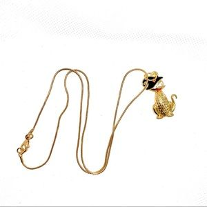 Gold Plated, Silly Halloween, Cat Necklace! NIP!